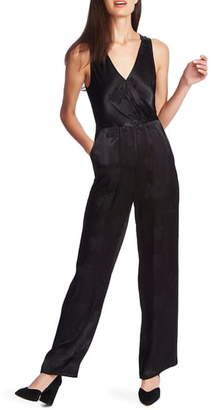 1 STATE 1.STATE Floral Satin Jacquard Cross Front Jumpsuit
