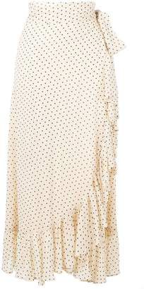Ganni draped polka dot skirt
