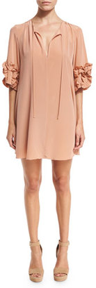See by Chloe Ruffle-Sleeve Silk Shift Dress, Beige $485 thestylecure.com