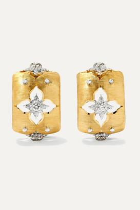 Buccellati Macri Giglio 18-karat Yellow And White Gold Diamond Hoop Earrings - one size