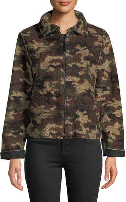 Velvet by Graham & Spencer Camo Sherpa Zip-Front Jacket