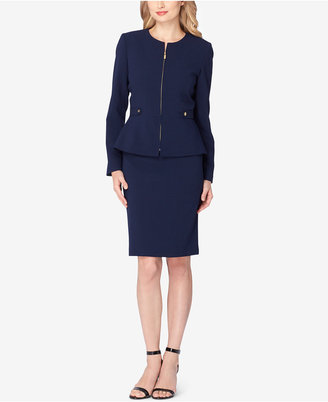 Tahari ASL Zip-Up Peplum Skirt Suit $280 thestylecure.com