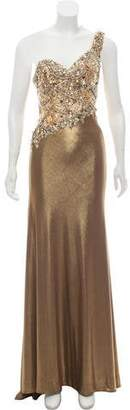 Terani Couture One-Shoulder Metallic Embellished Evening Dress w/ Tags