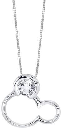 LA Rocks White Quartz April Mickey Mouse Pendant Necklace