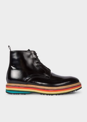 Paul Smith Men's Black High-Shine Leather 'Corelli' Boots With Multi-Coloured Soles