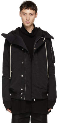 Rick Owens Black Hooded Bomber Jacket