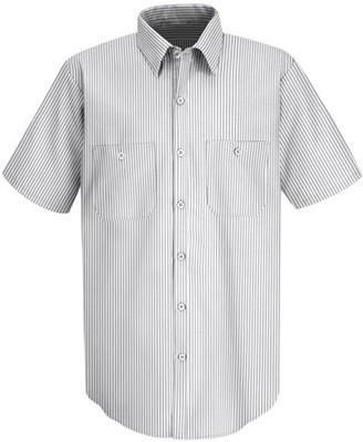 Red Kap Men's Short Sleeve Striped Dress Uniform Shirt