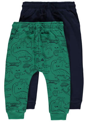 George Assorted Dinosaur Print and Plain Joggers 2 Pack