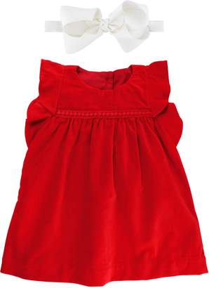 RuffleButts Velvet Dress & Bow Head Wrap Set