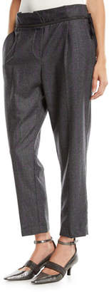 Brunello Cucinelli Wool Check Side-Zip Pants w/ Monili Waistband