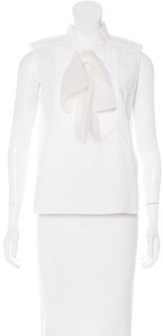 Chanel Silk-Trimmed Pleated Top