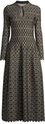 Alaia Long-Sleeve Scalloped Golden Medallion-Jacquard Dress