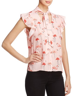 Finn & Grace Flamingo Print Tie Neck Blouse - 100% Exclusive $88 thestylecure.com