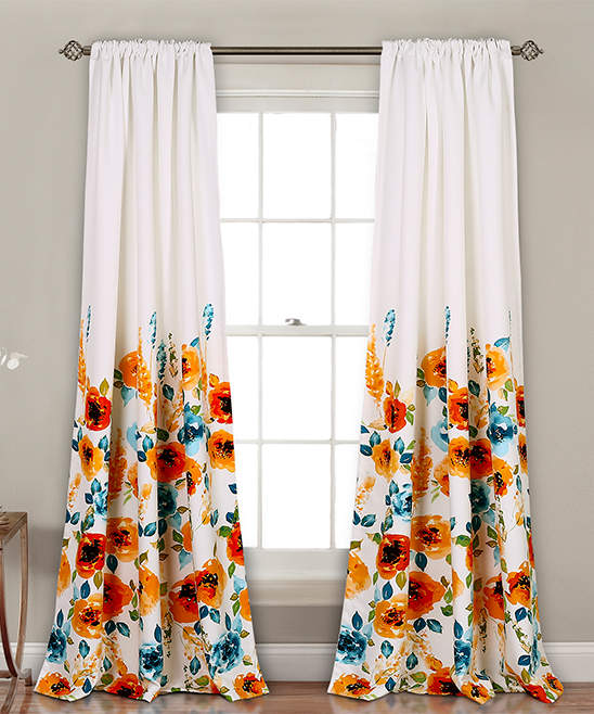 Tangerine Percy Bloom Room-Darkening Curtain Panel - Set of Two