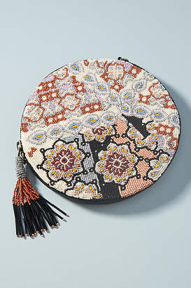 Anthropologie Florence Beaded Round Pouch