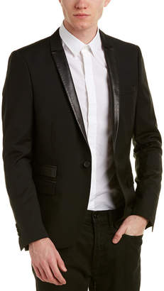 The Kooples Leather-Trim Wool & Mohair-Blend Blazer