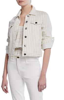 967105ab5a4 Frame Le Vintage Striped Cropped Denim Jacket