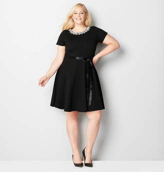 Avenue Jewel Neck Fit and Flare Dress