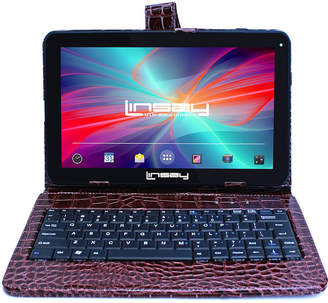 LINSAY New 10.1'' Quad Core 1024x600HD 16GB Android 6.0 Tablet with Brown Crocodile Style Leather Keyboard Case