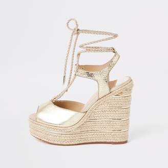 9c0a20cc8 River Island Womens Gold metallic rope tie-up espadrille wedges