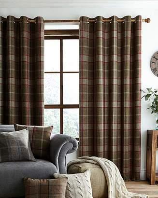 Fashion World Highland Check Lined Eyelet Curtains
