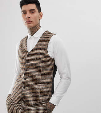 Heart N Dagger slim suit vest in charcoal harris tweed