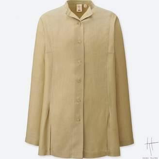 Uniqlo WOMEN HPJ Tencel Wing Collar Long Sleeve Shirt