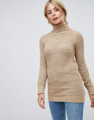 Brave Soul Issue Roll Neck Longline Sweater