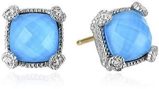 Judith Ripka Blue Cushion Stone Stud Earrings
