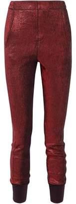 Ann Demeulemeester Linen-Blend Textured-Lamé Tapered Pants