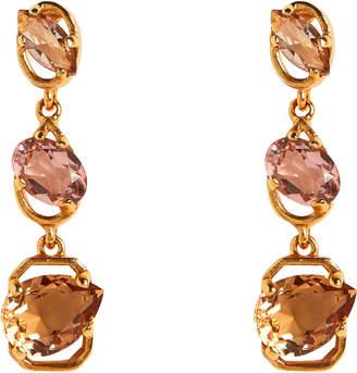 Oscar De La Renta Tiered Crystal Earrings