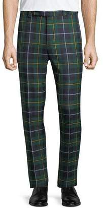 Versace Men's Tartan Plaid Side-Strip Cropped Pants
