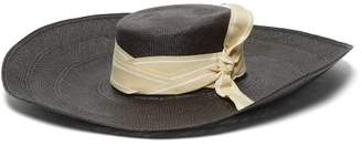 Sensi Studio - Cordovez Wide Brim Straw Hat - Womens - Black