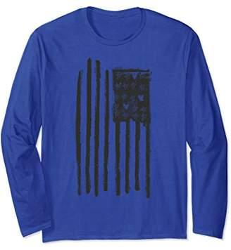 Black Vertical American Flag Hearts Stars Long Sleeve Tee