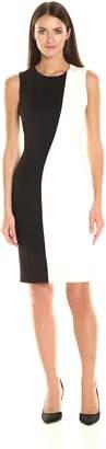 Calvin Klein Women's Sleeveless Round Neck Tone Dress, Black/White