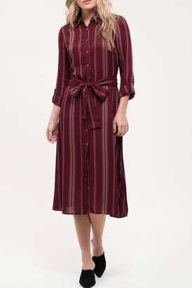 Blu Pepper Button Down Stripe Waist Tie Dress