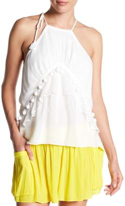 Ramy Brook Victoria Embellished Ruffle Silk Halter Tank Top