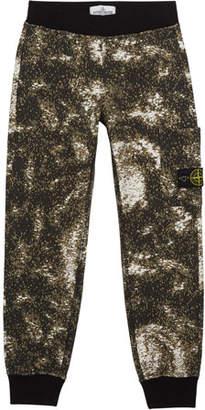 Stone Island Boy's Digital Space Print Fleece Jogger Pants, Size 12