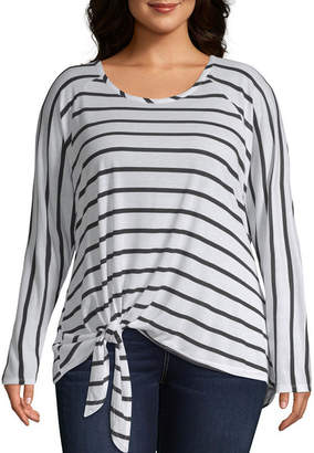 Boutique + +-Womens Scoop Neck Long Sleeve T-Shirt Plus