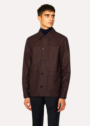 Paul Smith Men's Brick Red Check Wool-Cashmere Work Jacket