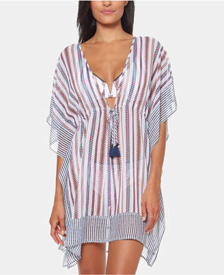 1144e6496f Jessica Simpson Striped Chiffon Border Cover-Up with Tassels Women Swimsuit