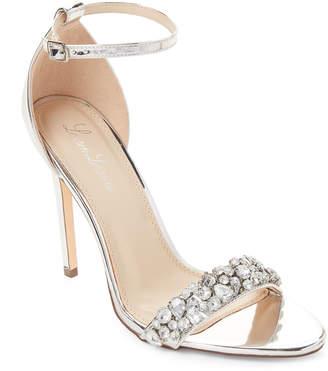 Lauren Lorraine Silver Bernie Embellished Ankle Strap Sandals