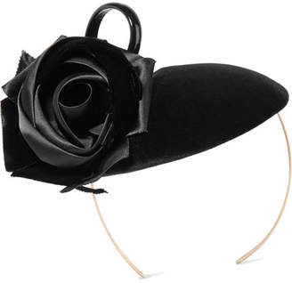 Philip Treacy Rosette And Bow-embellished Velvet Headpiece - Black