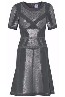 Herve Leger Metallic-Coated Piqué-Paneled Bandage Mini Dress