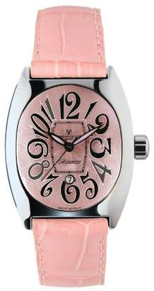 Montres de Luxe Women's BI3 ROS Bisanzio Stainless Steel Luminous Light Pink Leather Date Watch