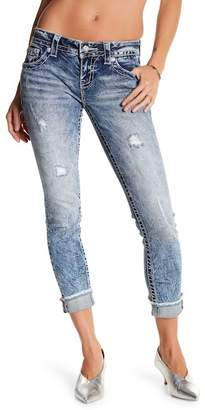 Miss Me Geo Embellished Acid Wash Cuffed Skinny Jeans