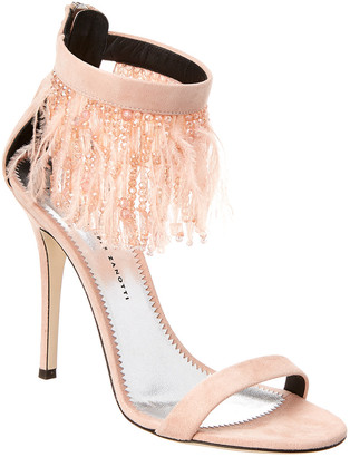 Giuseppe Zanotti Feather Embellished Suede Ankle-Strap Sandal