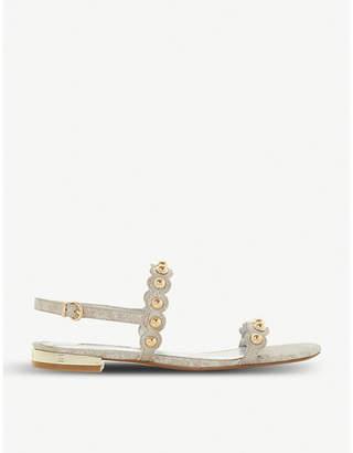 Dune Neella stud-embellished scallop trim sandals