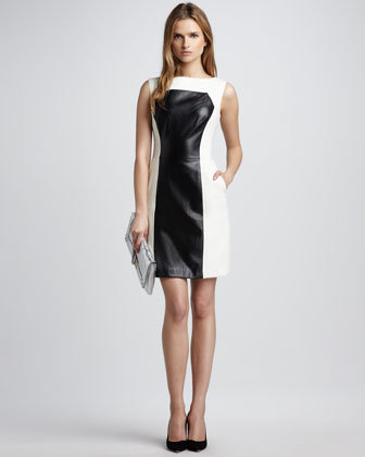 Milly Nina Colorblock Leather Dress, Ecru