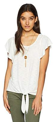 Amy Byer A. Byer Junior's Young Women's Teen Tie Front Flutter Sleeve Fashion T-Shirt